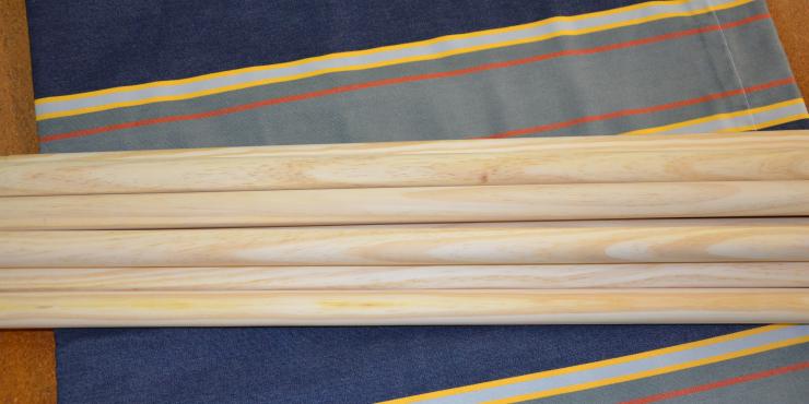 Windscherm Blauw/Geel/Oranje 4,50 meter, stockactie nummer 201